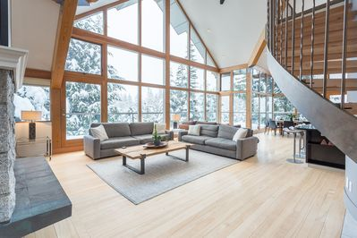 Spacious living room with a view
