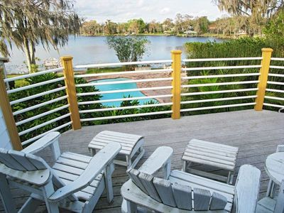 Spectacular view overlooking pool and lake from your apartment balcony.