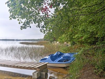 Photo for Rustic Lakefront Gould City Cabin w/Rowboat & Dock