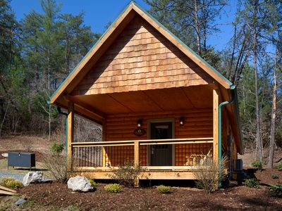 Photo for Cozy, Romantic Cabin for 2! Private Hot Tub & Fire Place. Incld's Biltmore!