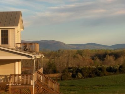 The Front Door of the Cottage with the Blue Ridge Mtns in the distance.