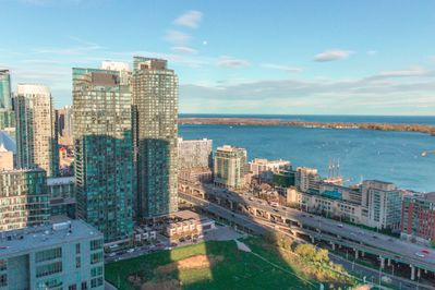 View of the Toronto waterfront from the Condo balcony