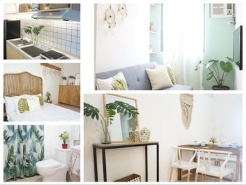 Relax in a Tropical Themed Condo in QC (w/ Netflix HD+Free Access to Pool &  Gym)