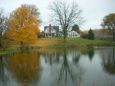 Photo for A lovely retreat  in a private rural setting with brook, pond, trees and fields.