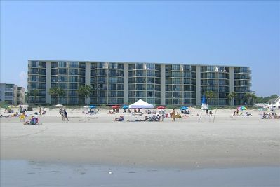 View of condo from the beach, our unit is on the 4th floor