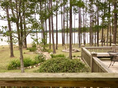 Looking from the covered porch all the way to the lake.
