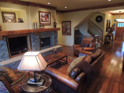 Great room with high end furnishings & gas fireplace for those cold winter snows