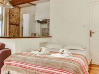 The apartment combines old world charm with modern furnishings. It's also in a great location in Lyo