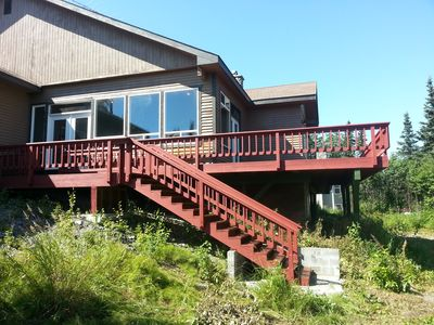 Side view of house, stairs down to Kenai River
