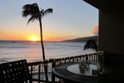 sunset view from our deck looking directly down to water/beach infront