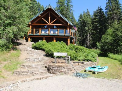 Photo for Lake Front Amazing Log Home Private Beach & Dock - Summer Special August 17-31