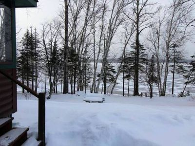 Photo for Lakeside cabin on beautiful grounds, beach, dock