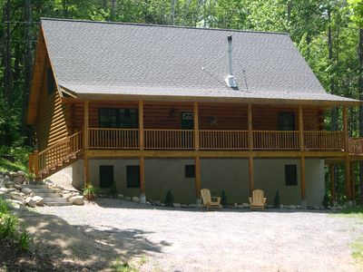 Log Home with Covered Porch and Back Deck