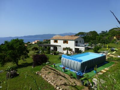 Photo for F3 of 80m ², swimming pool with sight on sea and mountains Arrival possible during the week