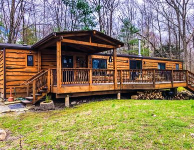 Photo for LAKEFRONT Cabin on a 22+ acres wooded lot. Close to BLUE MOUNTAIN Ski Resort!