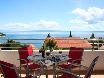Photo for Spacious comfortable apartment, great terrace view, just 150m from the beach