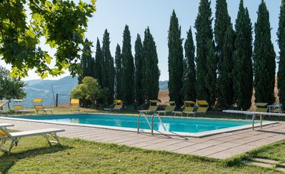 Photo for Apartment in farmhouse in Tuscany with pool, restaurant, wifi