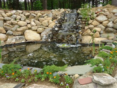 Your own private waterfall and fishpond on your yard.