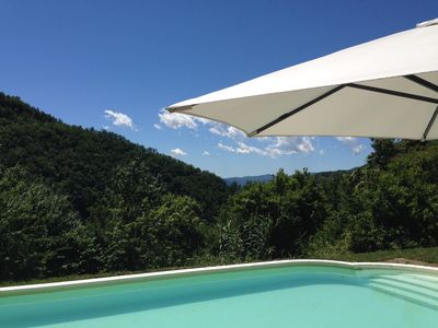 Photo for Restored Casa with large garden and private pool in hilltop borgo.