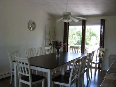 dining-seats up to 12 + 2 stools at island, sliders to deck w/patio set.