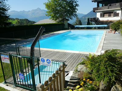 Photo for Apartment St Gervais Mont Blanc, 8 people, 2 bedrooms, ground floor, terrace, swimming pool