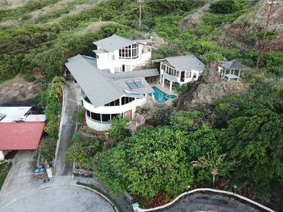 Aerial Drone Photo of the AlohaPalace at 118 Kekaha Place up driveway toward ESE