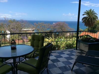 Photo for Peaceful, spacious, self-catering flat with sunny terrace, pool and sea view.