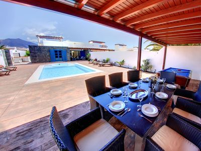Photo for Three main bedrooms with ensuite bathroom + 2 bedrooms, Jacuzzi, Heated pool ...