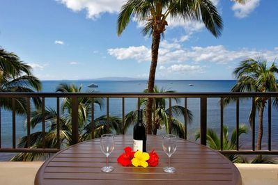 Enjoy the view from our Oceanfront Penthouse lanai