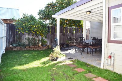 Private Backyard, Covered Patio, and Patio Table