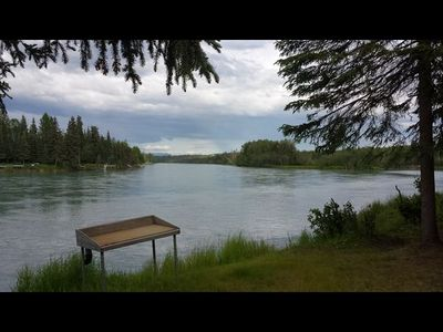 Photo for Kenai River Frontage Cabin with private fishing dock on property.