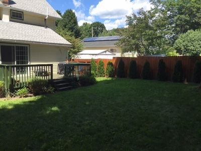 Quiet 6' fenced in around backyard, with BBQ grill and Fire Pit