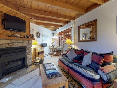 Photo for Warm, cozy condo with shared pool, hot tub, & sauna, plus ski shuttle access!