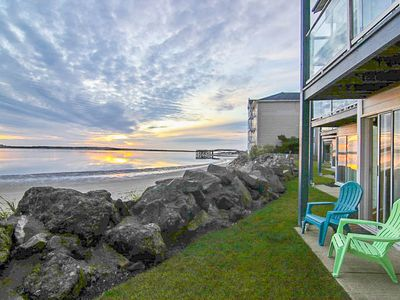 Photo for Beautiful Ground-Level WaterBay Front Condo with Gorgeous Bay and Ocean Views!
