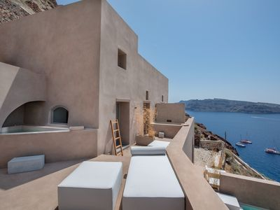 Photo for Old Castle Oia Family Suite with 2 Outdoor Heated Jacuzzis and Sunset View