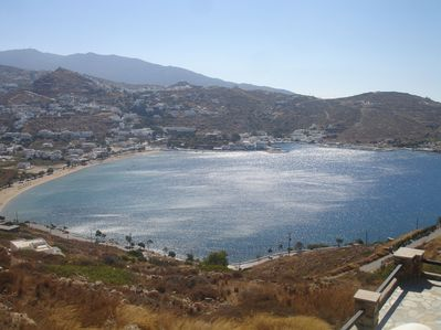 View of Yialos beach and the port