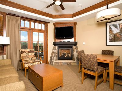 Photo for Alpine Condo + Fireplace, Balcony | Access Spa/Hot Tubs/Pools/Shuttle!