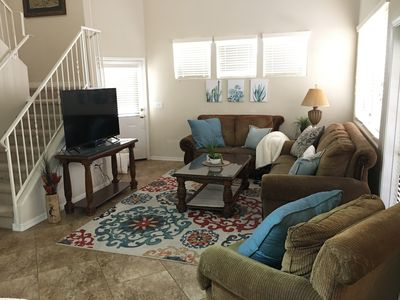 Vaulted ceilings. Flat screen cable and WiFi. Patio off the living room.