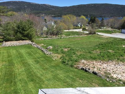 View from your deck of our lovely landscaped yard,  Somes Sound and mountains