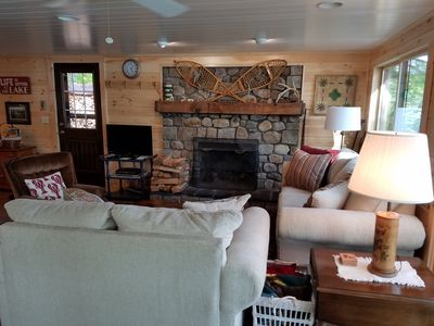 Living area - what a GREAT fireplace!