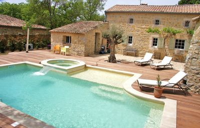 Photo for Uzès: house full of character with heated pool and spa for 6-8 people