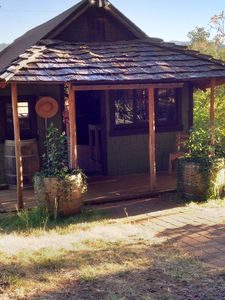 The front porch of the little  Cabin... 'Welcome!'