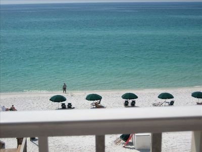 Stunning views of our gorgeous beach from our 5th floor balcony at Island Echos!