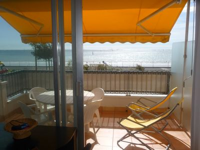 Photo for On the seafront, bright apartment with a large terrace and parking