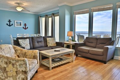 Living room with beautiful view of the Gulf of Mexico