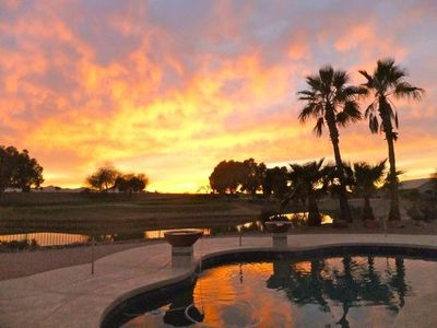 Photo for Expansive Mountain Sunset View over Pool, Pond, and 12th Green