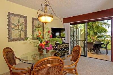 Dine indoors or out, with gorgeous ocean view from the living room and lanai.