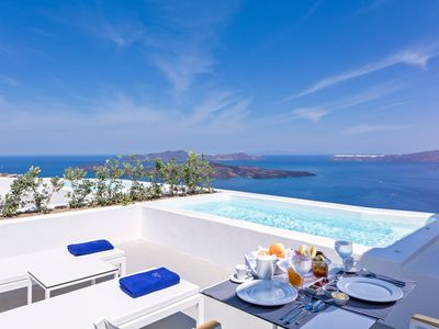 Photo for Junior Suite with a heated private plunge pool, Hot Tub and panoramic Aegean Sea views