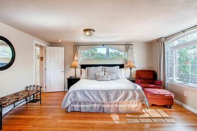 Enjoy the Select Comfort king sized bed in the Master Bedroom
