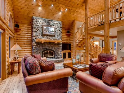 Photo for Pine Crest Lodge: Custom Log Home w/ Hot Tub, Bocce Court, Fire Pit, Views